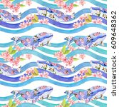 Whales With Flowers In Waves....