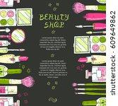 makeup cosmetics tools... | Shutterstock .eps vector #609649862