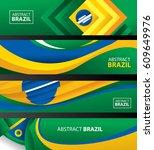 abstract brazil flag  brazilian ... | Shutterstock .eps vector #609649976