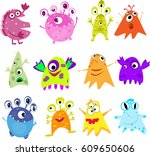 set cute monsters isolated... | Shutterstock .eps vector #609650606