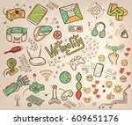 doodle vector collection of... | Shutterstock .eps vector #609651176