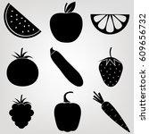 vegetables  fruits and berries  ...   Shutterstock .eps vector #609656732