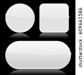white clear buttons. round ... | Shutterstock .eps vector #609661586