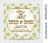 wedding invitation card... | Shutterstock .eps vector #609663512