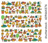 vector doodle set with toys for ... | Shutterstock .eps vector #609664376