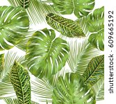 vector tropical seamless... | Shutterstock .eps vector #609665192