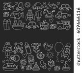 vector doodle set with toys for ... | Shutterstock .eps vector #609666116