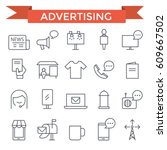 advertising icons  thin line ... | Shutterstock .eps vector #609667502