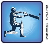 graphics icon of cricket player ... | Shutterstock .eps vector #609667985
