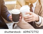 close up of two business... | Shutterstock . vector #609672752