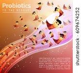 funny comic probiotics bacteria ... | Shutterstock .eps vector #609674252