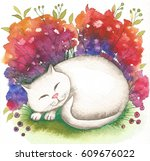white cat. abstract watercolor...   Shutterstock . vector #609676022