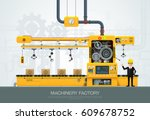 factory industrial machine... | Shutterstock .eps vector #609678752