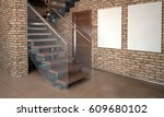 mock up wall in interior with... | Shutterstock . vector #609680102