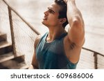 shot of young man with muscular ... | Shutterstock . vector #609686006