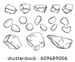 stones sketches set vector | Shutterstock .eps vector #609689006