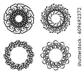 round frames  wheels or... | Shutterstock .eps vector #609692372