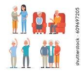 elderly people leisure in... | Shutterstock .eps vector #609697205