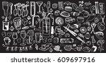 hand drawn food elements. set...   Shutterstock .eps vector #609697916