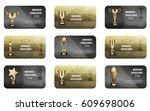 winner voucher set in golden... | Shutterstock .eps vector #609698006