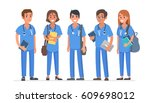 group of young medical students.... | Shutterstock .eps vector #609698012