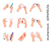 women arms with colorful... | Shutterstock .eps vector #609698156
