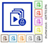 lock playlist flat color icons... | Shutterstock .eps vector #609701396