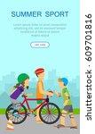 vertical summer sport banner.... | Shutterstock .eps vector #609701816