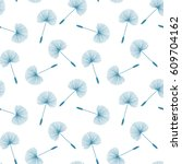 blue dandelions seed floral... | Shutterstock .eps vector #609704162
