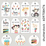 set of happy birthday gift tags ...   Shutterstock .eps vector #609708476
