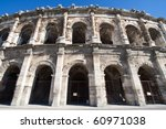 Roman Amphitheater in Nimes, France - stock photo