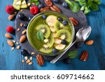 smoothie bowl   green smoothie... | Shutterstock . vector #609714662
