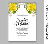 yellow rose floral wedding... | Shutterstock .eps vector #609714872