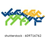 running race logo. colorful... | Shutterstock .eps vector #609716762