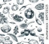 vector hand drawn superfood... | Shutterstock .eps vector #609723125