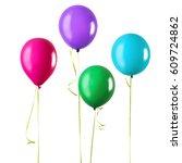 four balloons green  purple ... | Shutterstock . vector #609724862