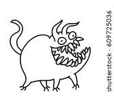cartoon cute monster smiles and ... | Shutterstock .eps vector #609725036