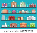 flat colorful city buildings... | Shutterstock .eps vector #609729392