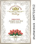 wedding invitation with bouquet ... | Shutterstock .eps vector #609731912
