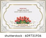 wedding invitation with bouquet ... | Shutterstock .eps vector #609731936