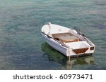 small motor boat on the silent... | Shutterstock . vector #60973471