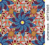 seamless pattern with floral... | Shutterstock .eps vector #609735605