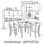 interior hand drawn sketch.... | Shutterstock .eps vector #609735722