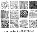 set of hand drawn ink... | Shutterstock .eps vector #609738542