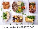 healthy food in box. fresh box .... | Shutterstock . vector #609739646
