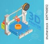 3d printer flat design style on ... | Shutterstock .eps vector #609740852