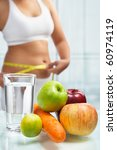 fruit and water on table with... | Shutterstock . vector #60974119