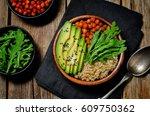 quinoa roasted chickpeas buddha ...   Shutterstock . vector #609750362