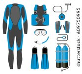 set of diving equipment icon.... | Shutterstock .eps vector #609750995