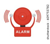 vector red fire alarm bell.... | Shutterstock .eps vector #609753782